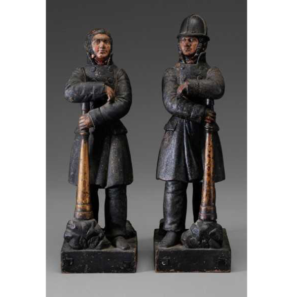 SOLD: $90,000 An Important and Unique Pair of Carved, Polychromed and Parcel-Gilt Firefighter Fiqures