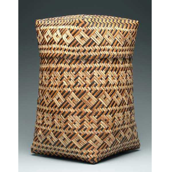 SOLD: $16,800 Eva Wolfe Double Woven River Cane Lidded Basket