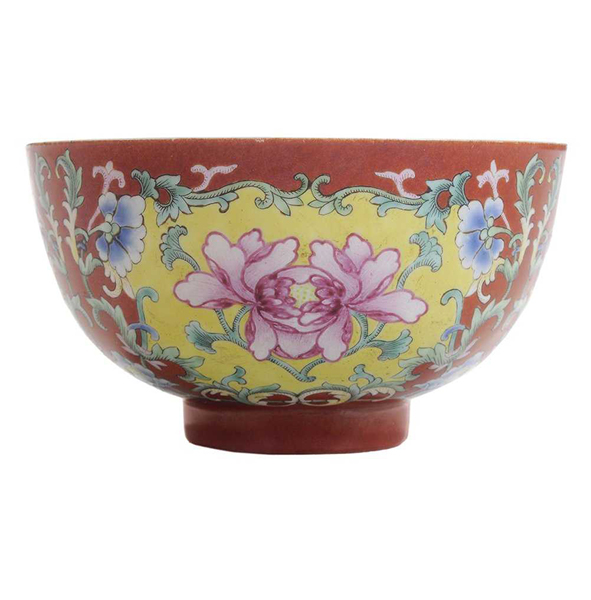 SOLD: $120,000 Very Fine Antique Chinese Coral-Ground Famille Rose-Decorated Bowl
