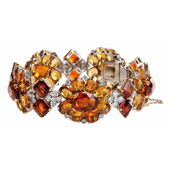 SOLD: $120,000  Vintage Cartier Paris, Diamond and Citrine Bracelet