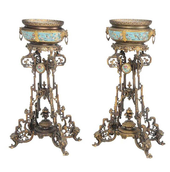 SOLD: $72,000 A Fine Pair Aesthetic Movement Bronze Planters