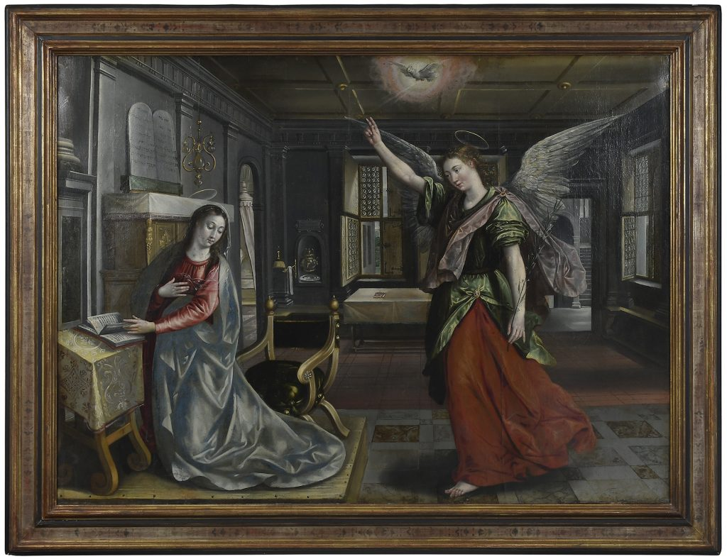 """<!-- wp:paragraph --> <p><strong>Maerten de Vos</strong>(or Marten, Flemish, 1532–1603)</p> <!-- /wp:paragraph -->  <!-- wp:paragraph --> <p>The Annunciation, signed on page of book at left """"Vos"""", oil on canvas, 44-3/4 x 60 in.; 20th century parcel gilt and painted panel frame, 54-1/4 x 70 in.</p> <!-- /wp:paragraph -->  <!-- wp:paragraph --> <p>Lot 975 / Estimate: $100,000 – $150,000 / September 14, 2019</p> <!-- /wp:paragraph -->"""