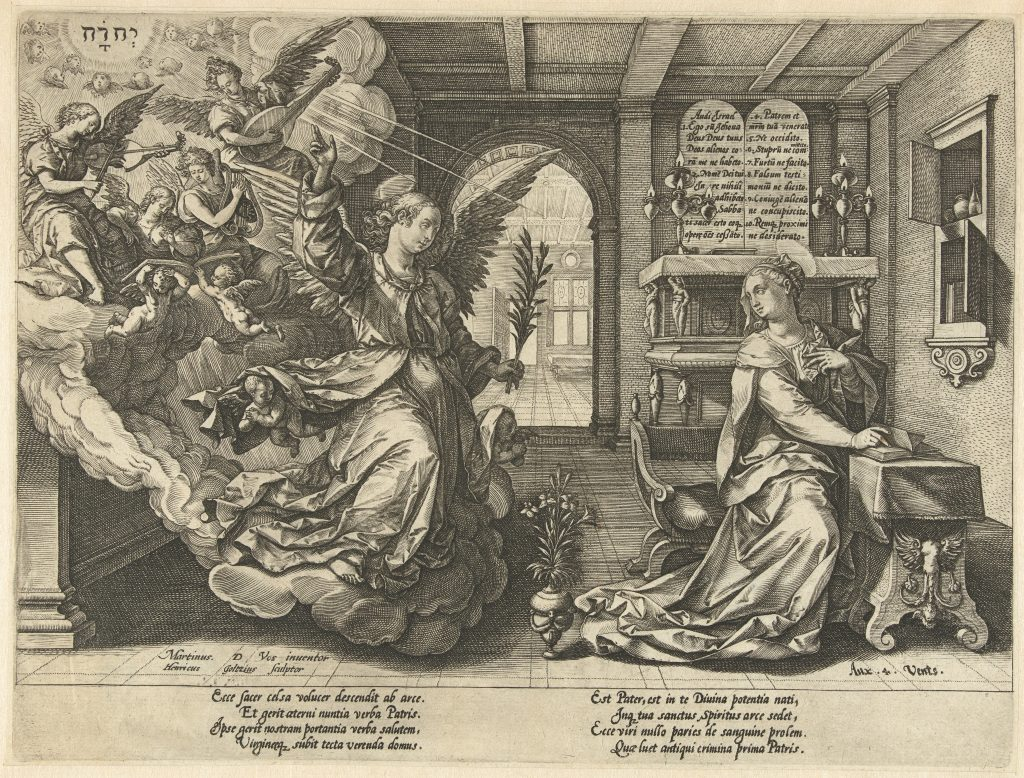 Hendrik Goltzius (Dutch, 1558–1617), The Annunciation, engraving Photo courtesy of the RKD, Netherlands
