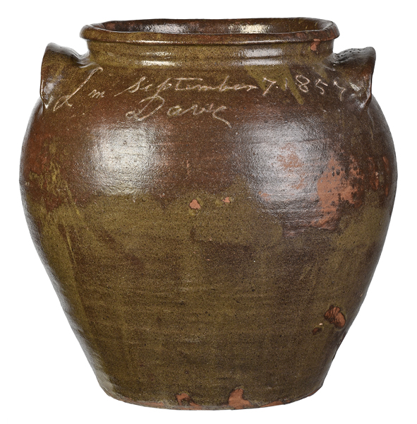 "SOLD: $184,500 Monumental ""Dave"" Edgefield Stoneware Jar"