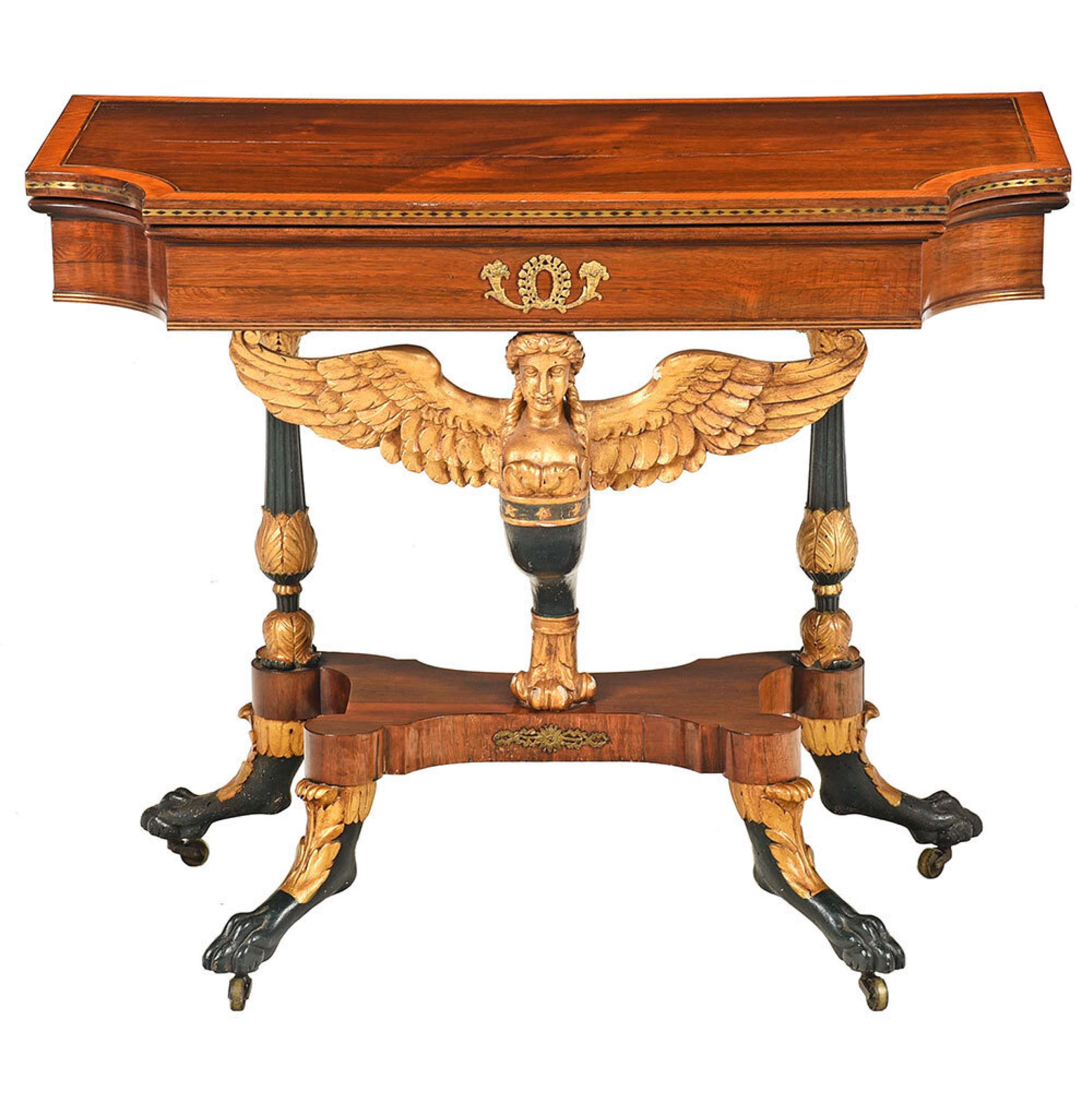 SOLD: $159,000 Fine Classical Gilt, Vert Antique, and Rosewood Caryatid Table
