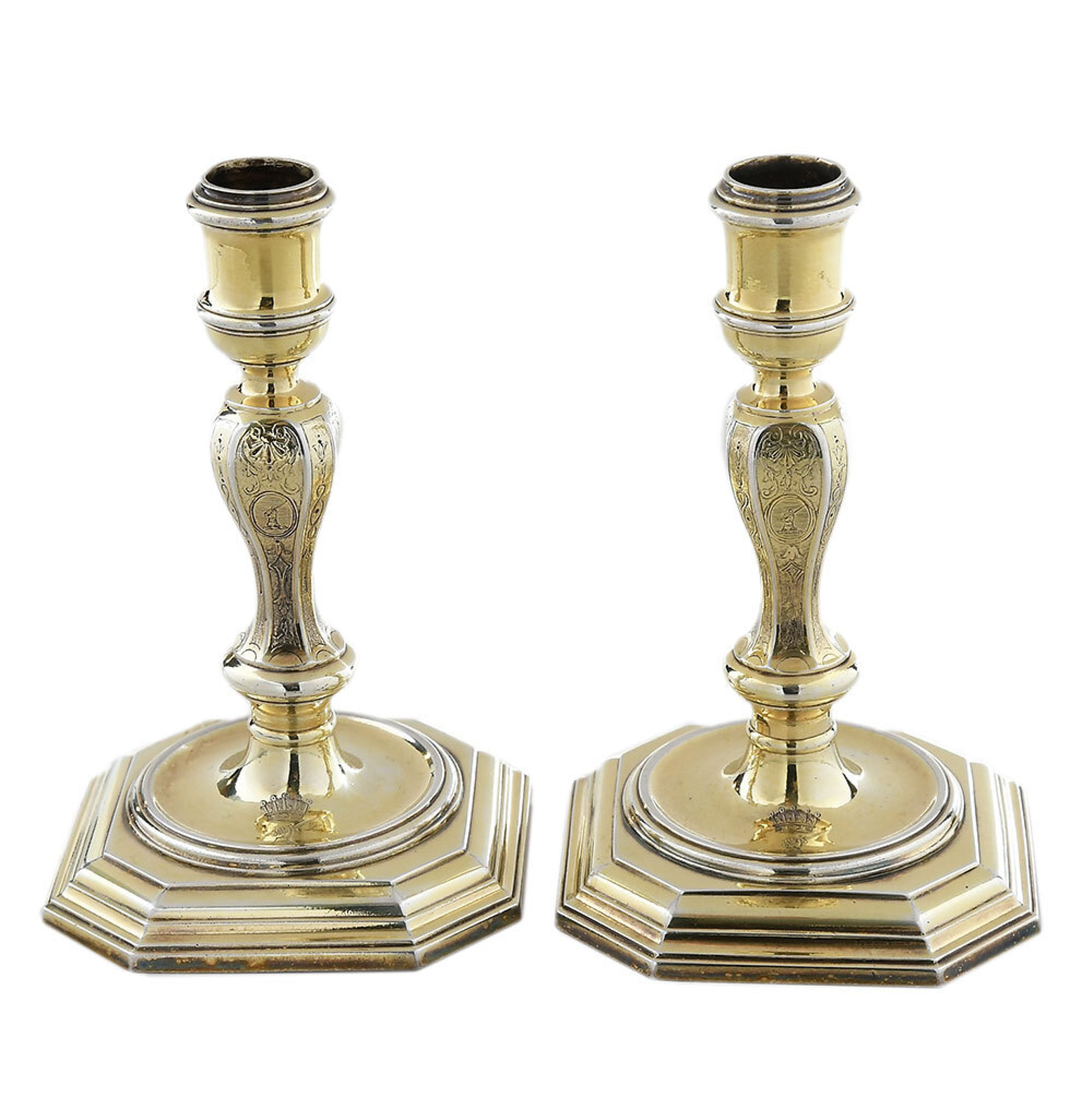 SOLD: $20,910 Pair of George I English Silver Candlesticks