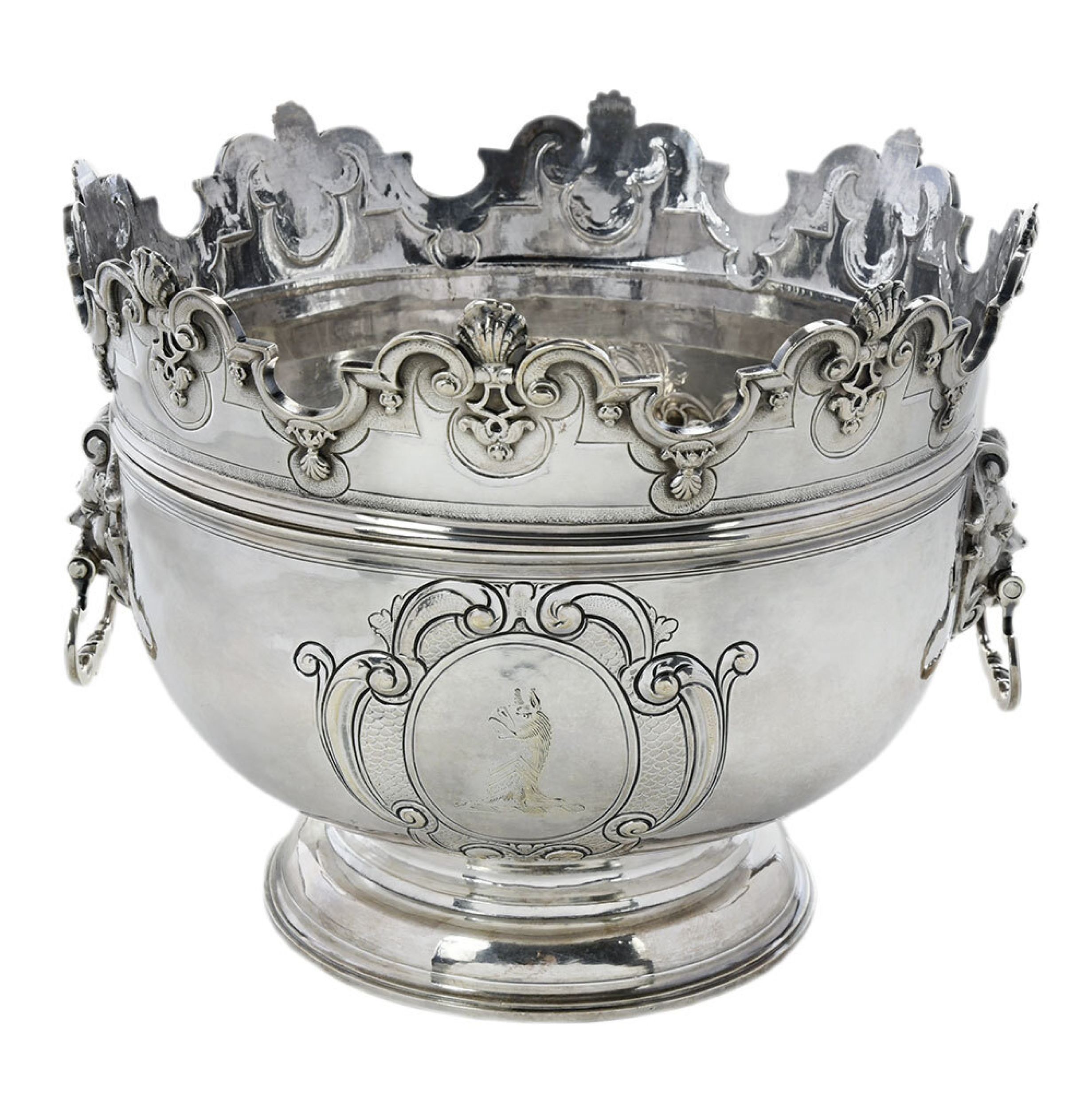 SOLD: $34,440 Queen Anne English Silver Monteith Bowl